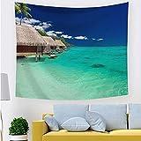 Tapiz de olas azules tapiz de mar colgante de pared art deco fondo de árbol de coco cenefa de tela de fondo cenefa de tela A5 150x200cm