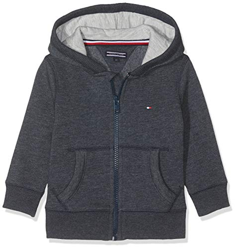 Tommy Hilfiger Jungen Boys Basic Zip Hoodie Sweatshirt, Blau (Sky Captain 420), 116 (Herstellergröße: 6)