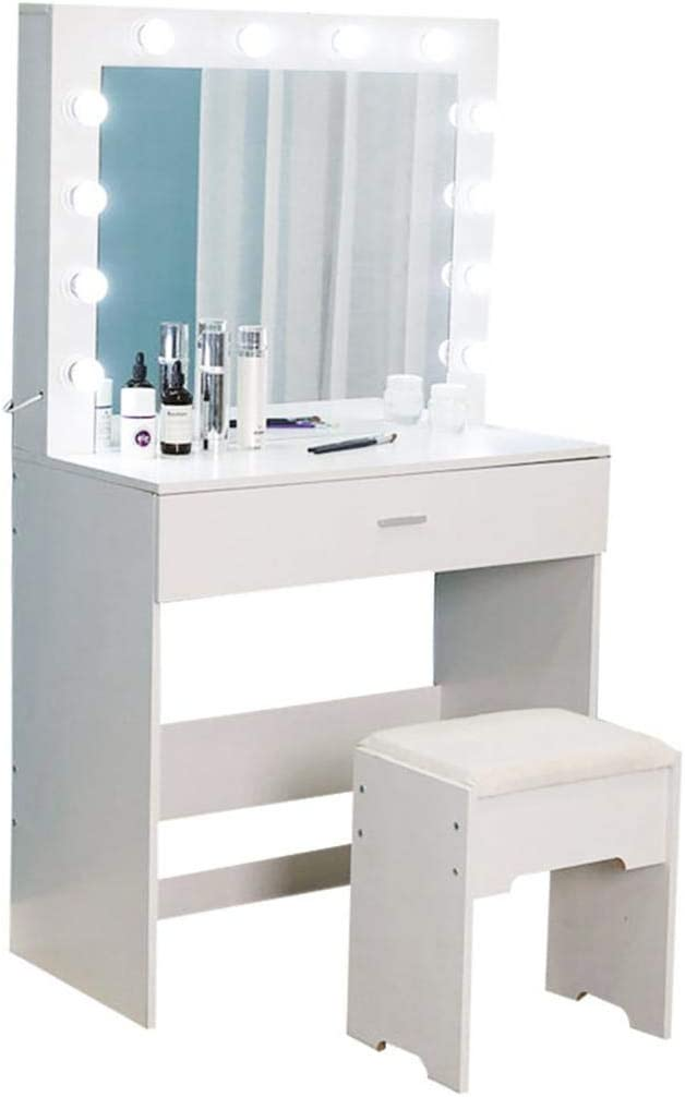 Latest item Vanity Table Makeup Dressing with Save money Lighted Mirror Cushione