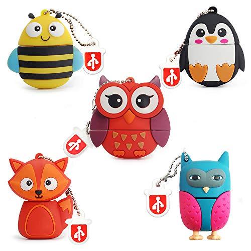 5 Stück 16GB USB-Stick, BorlterClamp Speicherstick mit Niedlichen Tiermustern, Geschenk für Studenten und Kinder