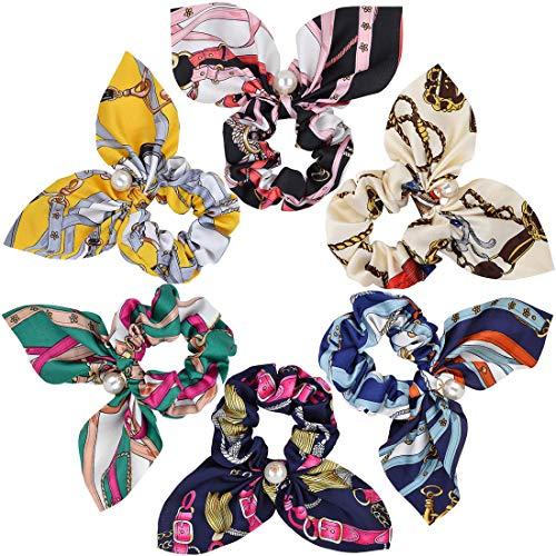 6 Stück Haargummis mit Bowknot und Perlen Chiffon Elastisch Haarbänder Gummibänder Haar Scrunchies Bobbles Bunt Süss Pferdeschwanz Halter Haar Band Stirnbänder für Frauen Damen Mädchen