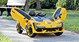 First Drive Lambo Concept Yellow 12v Kids Cars - Dual Motor Electric Power Ride On Car with Remote, MP3, Aux Cord, Led Headlights, and Premium Wheel