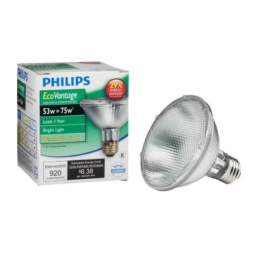 Philips PAR30S Dimmable Flood Light Bulb, 920 Lumen, Bright White (2860K), 53W=75W, E26 Medium Base, 1-Pack