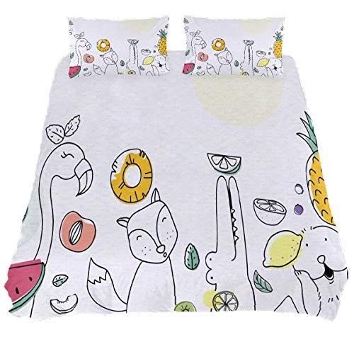 N/O Cute Fruity Animals Duvet Cover Bedding Set Bedclothes Decorative 3 Pieces (1 Duvet Cover + 2 Pillow Shams) Ultra Soft Hypoallergenic Microfiber