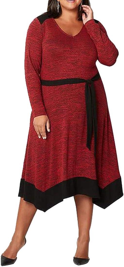XTX Women Long Sleeve Color Block V Neck Stylish Plus Size Flare Maxi Dress Red 2XL