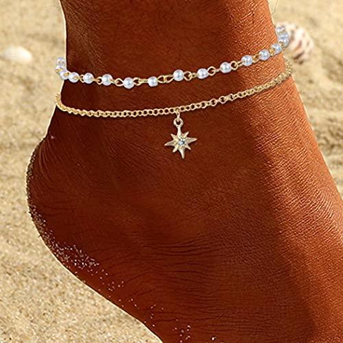 Ushiny Tobilleras de perlas bohemias con cristales de estrella dorada, tobilleras en capas, para verano, playa, para mujeres y niñas (2 unidades)