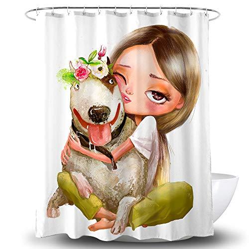 BECAN Duschvorhang für Mädchen, süßes Cartoon-Mädchen mit H&, mehrfarbig, Girlande, Blume, Polyestergewebe, wasserdichte Schicht, 183 x 183 cm
