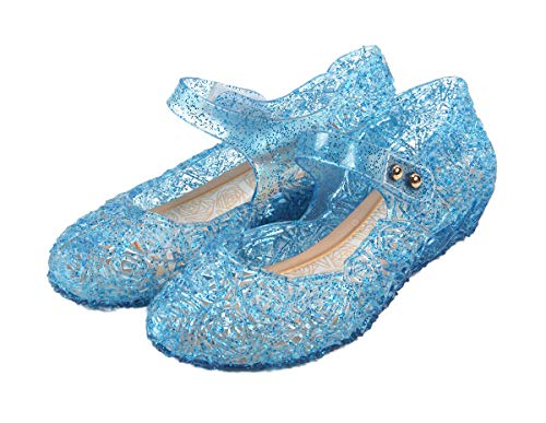 Frozen Inspired Elsa Costumes Flats Shoes, Snow Queen Princess Birthday Sandals for Little Girls, Toddler or Kids US Size 7 Blue