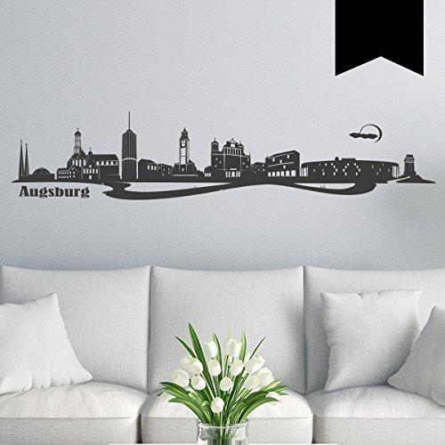 WANDKINGS Wandtattoo Skyline Augsburg (mit Sehenswürdigkeiten & Wahrzeichen der Stadt) 240 x 41 cm schwarz - erhältlich in 33 Farben