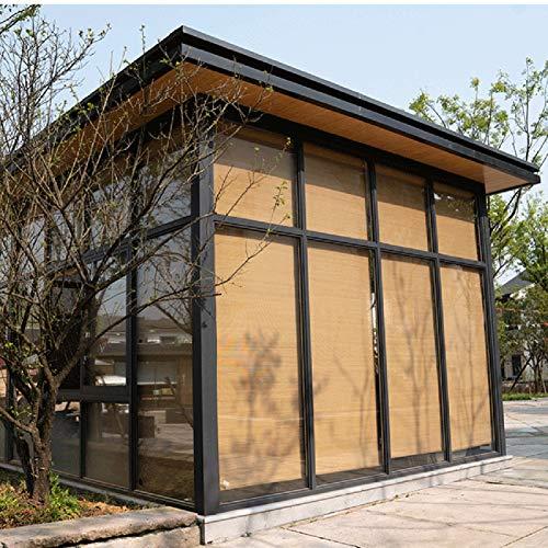 Estores Enrollables Persianas Enrollables de Jardín de Pérgola para Exteriores, Persianas Enrollables de Filtración de Luz de Bambú Natural de Estilo Japonés, 135cm/105cm/65cm de Ancho