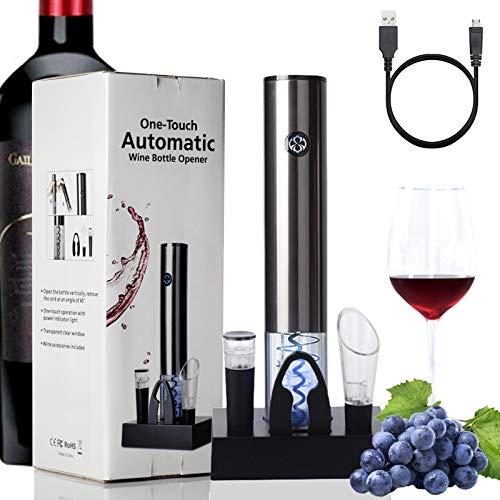 Juego de abridor de vino eléctrico, sacacorchos vino con cortador de papel de aluminio vertedor sello al vacío base de almacenamiento
