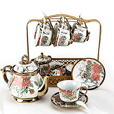 wwuiuiww Porcelain Ceramic Coffee Tea Sets Gift,Coffee Set, 22-Piece,Cups Saucer Service for 6 ,Teapot, Sugar Bowl, Creamer Pitcher and 6 Teaspoons 1100ML/POT,220ML/CUP