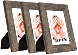Wide Molding 5x7 Picture Frame Set of 3, Made of HD Glass Display Picture 4x6 with Mat, Dark Brown Rustic...