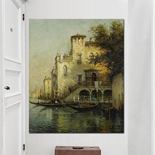 HGlSG Print Resorts Water Town Venice Seascape Pintura al óleo sobre Lienzo Vintage Poster Modern CuadrosWall Art Simple Fashion Baby Kids Room A4 70X100cm