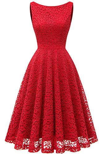 Bbonlinedress Vestido Corto Elegante Mujer De Encaje Boda Playa Fiesta Noche Cóctel Sin Mangas Red L