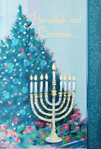 Hanukkah and Christmas - Two Different Holidays, Each A Celebration of Peace Joy Love Family Friends - Blended Interfaith Family Christian Jewish Chrismukkah Greeting Card
