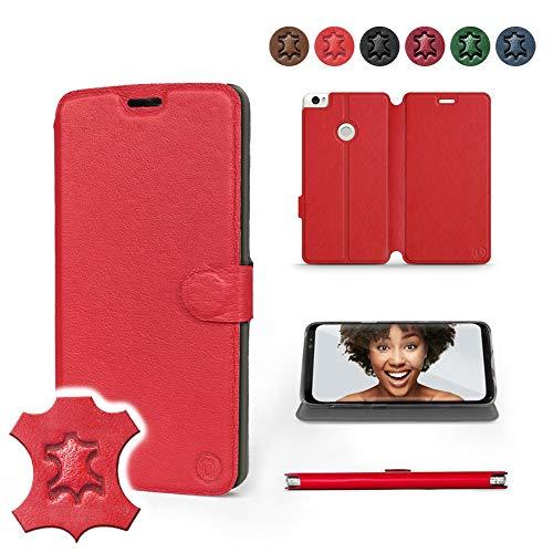 Mobiwear | Echt Lederhülle | Kompatibel mit Xiaomi Mi Max 2, Made in EU handyhülle, Slim Leather Hülle, Premium Flip Schutzhülle, Transparent TPU Silicon, Book Style, Tasche - Rotes Leder