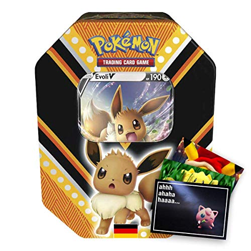 Lively Moments Pokemon Karten Tin Box Schwert und Schild Evoli V (# 89) DE + Exklusive GRATIS Grußkarte