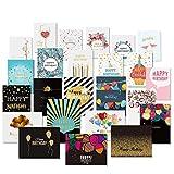 Unomor 24 Geburtstagskarten Set Goldenen Verzierungen Design Karte Geburtstag mit 26 Umschlägen