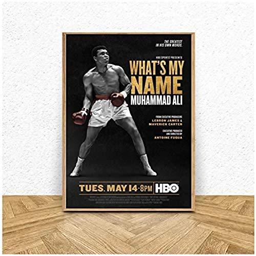 RZHSS Wie Ist Mein Name Muhammad Ali Filmplakat 2019 Boxen Film Kunst Poster Bild Malerei Auf Leinwand Home Decor-20X28 Zoll No Frame