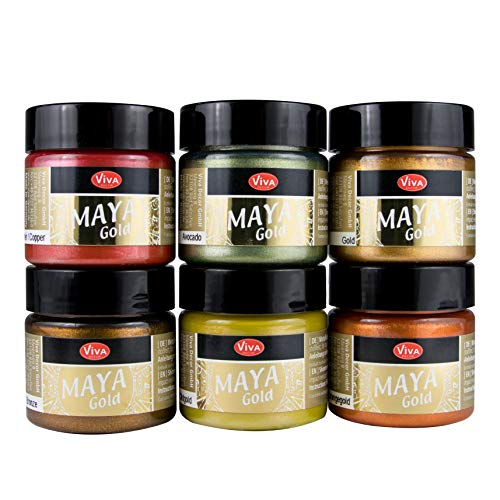 LM-Kreativ Maya Gold 6er Set von Viva Decor (Indian Summer), Metallic Metall-Glanz, Effekt-Farbe Bastel-Farbe, Deko-Farbe metallisch glänzend, 6 x 45 ml