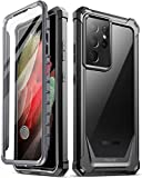Poetic Guardian Case Designed for Samsung Galaxy S21 Ultra 5G 6.8 inch, Built-in Screen Protector Work with Fingerprint ID, Full Body Hybrid Shockproof Bumper Cover Case, Black/Clear