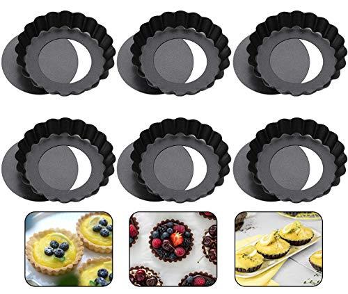 WENTS Tarteform Mit Hebeboden Ø 10 cm Mini Quicheform Gute Antihaftbeschichtung Pie Form Backform Wellenrand, schnittfest, servierfertig - Set von 6
