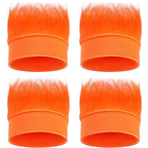 WILLBOND 4 Pieces Hairy Headband Crazy Hair Wig Headband Accessory for Cosplay Sports,Christmas Party(Orange)