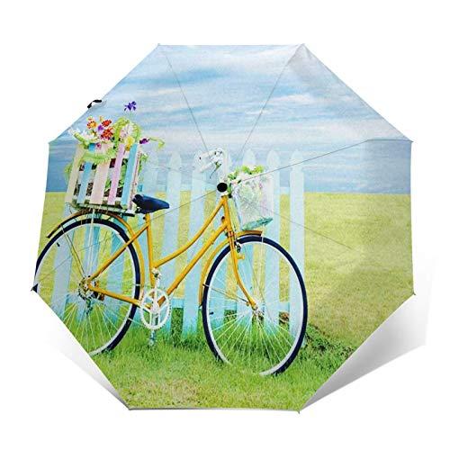 Regenschirm Taschenschirm Kompakter Falt-Regenschirm, Winddichter, Auf-Zu-Automatik, Verstärktes Dach, Ergonomischer Griff, Schirm-Tasche, Fahrrad Fahrrad Gras Regenbogen verträumt