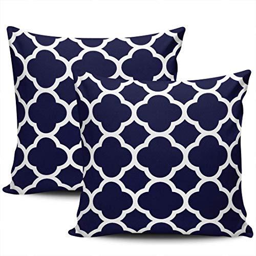 Home Decoration Throw Kissenbezüge Abdeckungen Marineblau und Weiß Vierpass Kissenbezüge Quadrat Zwei Seiten Druck 45 * 45cm 2er-Set