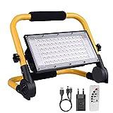 Projecteur LED Rechargeable, Lumière de Travail Lanterne Portable avec Panneau Solaire/ 4 Modes...