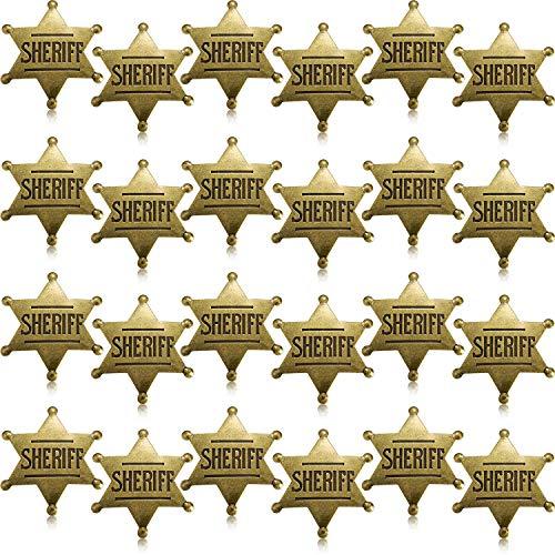 WILLBOND Metall Sheriff Abzeichen Bronze Western Cowboy Abzeichen Stellvertretender Sheriff Spielzeug Abzeichen für Halloween und Party Gefallen Kostüm Requisit (24 Stücke)