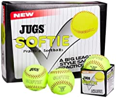 Same size as regulation leather softballs, 11-inch and 12-inch Official ball of the JUGS Pitching Machine League Games Genuine leather cover with genuine stitching Grips like a regulation softball Will not damage Aluminum bats