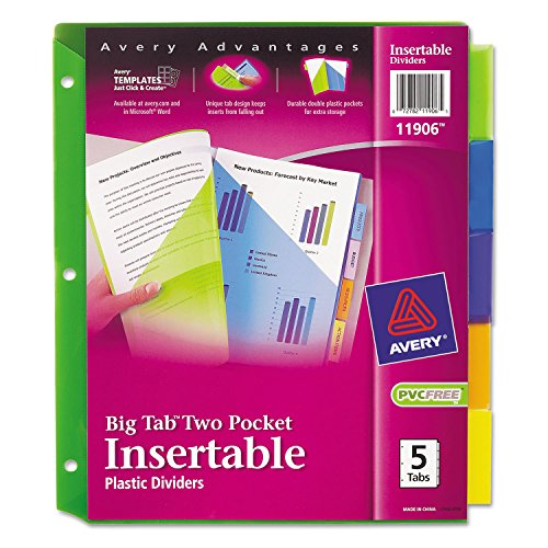 Avery 5-Tab Plastic Binder Dividers with Pockets, Insertable Multicolor Big Tabs, 1 Set (11906)