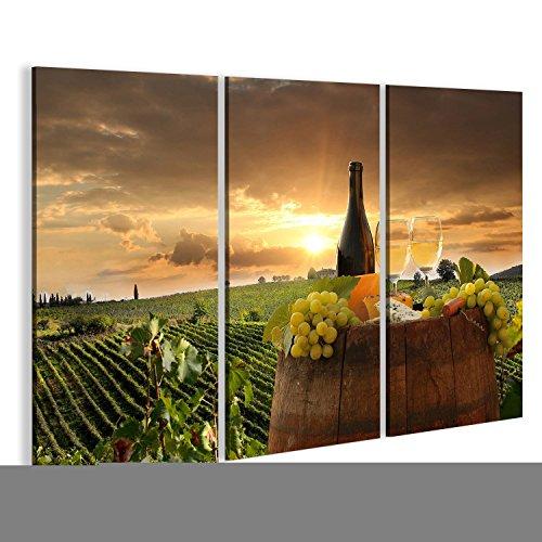 Bild Bilder auf Leinwand Weißer Wein mit Fass auf Weinberg in Chianti, Toskana, Italien Wandbild, Poster, Leinwandbild KIA