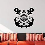 HNXDP Ocean Style Steering Wheel Wall Decal Anchor Timón Vinilo Etiqueta de la pared para niños Habitación Niño Dormitorio Decoración Sala de estar Decoración 42x42cm