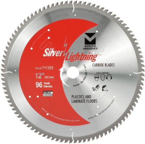 """mercer abrasives 14 diamond blades Mercer Industries Abrasives 711203 96-Tooth TCG Carbide Wood Cutting Blade with 12"""" x 1"""", 5/8"""" for Plastics and Laminate Floor"""
