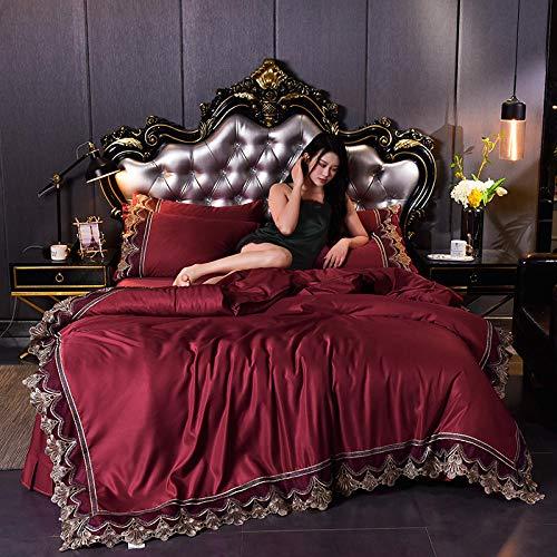 Estilo europeo lavado Hoja de seda de seda de lecho de lace Cubierta de acolchado, elegante comodidad, mejor, con sets más suaves y más acogedores de 4 piezas!-Di_1,8 m de cama (4 piezas)