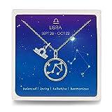 Qings Constelación Libra Horóscopo Collar Plata de Ley 925 Colgante Collares de la Amistad con Joyas Caja