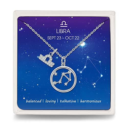 Qings Halskette Damen 925 Silber Waage Sternzeichen Zodiac Kette mit Kreis Stern Zirkonia Anhänger, Geschenk für Muttertag Valentinstag Weihnachten Geburtstag