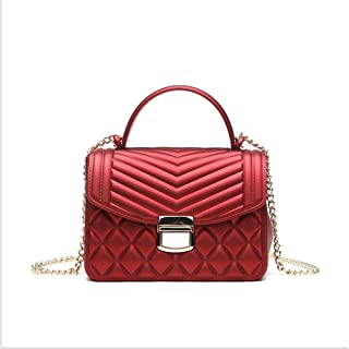 Fashion Women's Bags PU(Polyurethane) Crossbody Bag Zipper Red Square Pattern (Color : Red)
