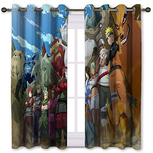 SSKJTC Blackout Window Curtains Drapes Naruto Manga Anime Shippuden Pattern Printing Thermal Blackout Curtains W45 x L42 Inch
