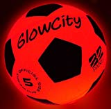 GlowCity Light Up LED Soccer Ball Blazing Red Edition|Glows in The Dark with Hi-Bright LED Lights -...