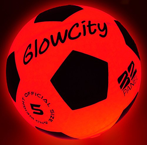 GlowCity Light Up Soccer Ball - Blazing Red Glow in The Dark Soccer Balls for Kids, Teens and Adults - 2 LED Lights and Pre-Installed Batteries Included - Size 5