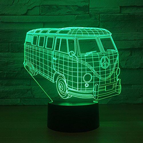 fissen 3d Bus de coche LED lámpara de Illusion óptico lámpara luz de noche con Cble USB y 7colores decoración para niños dormitorio noche mesa de bebé niño regalo de Navidad fiesta cumpleaños