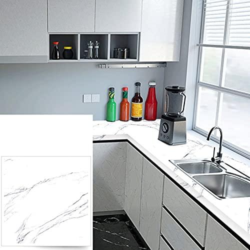 JMSL Papel de Contacto de mármol Autoadhesivo-Banco de Trabajo Papel Tapiz despegable y Adhesivo-Impermeable Resistente a Altas temperaturas-A Prueba de Aceite,Jazz White,23.6X394in