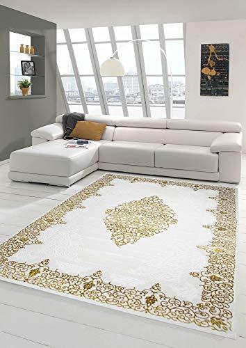 Designer Teppich Moderner Teppich Wollteppich Meliert Wohnzimmerteppich Wollteppich Ornament Creme Beige Gold Größe 200 x 290 cm