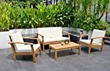 Amazonia Prescott Patio 4-Piece Conversation Set | Durable Eucalyptus with Teak Finish | Ideal for Indoors and Outdoors, White