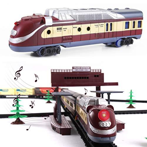 FXQIN Tren Navideño Eléctrico con Luces y Sonido Christmas Train Set con...