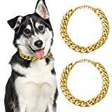 2 Piezas Cadenas de Eslabones de Perro Collar Cadena de Dorado de Plástico ABS de Perro Disfraz de Perrito (22 Inch (55+7 cm))